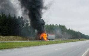 Burning Big Rig on the Highway