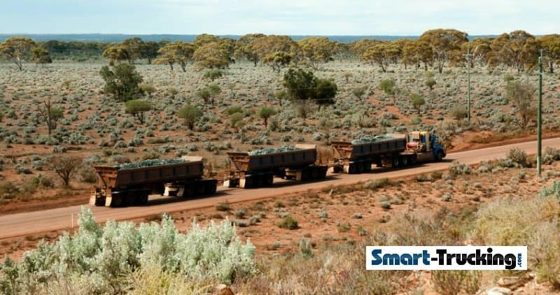Road Train In Australia Outback Dirt Road