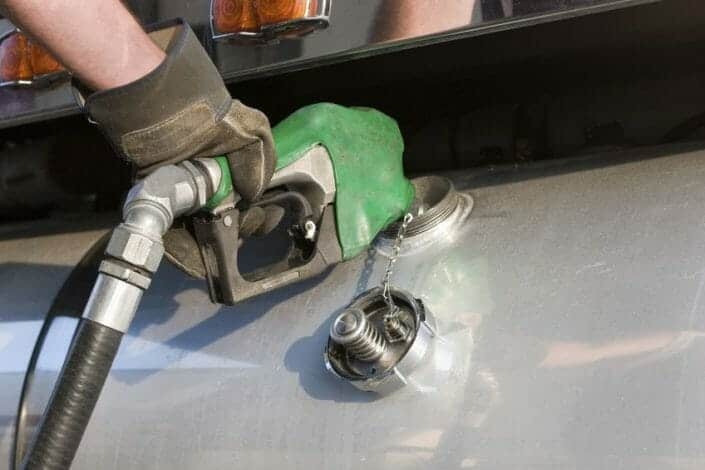 Fueling up a tractor trailer diesel fuel