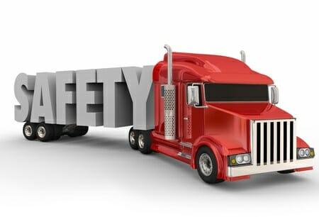 Safety Sign on Red Big Rig Trailer