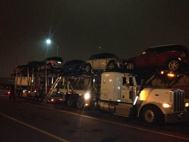 Big Rig Car Hauler at Night