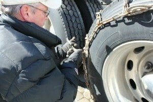 Big Rig Tire Chaining Procedure