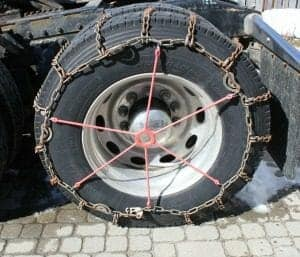 Semi Truck Tire Chains Secured