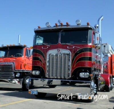 Black Red Kenworth Cabover Big Truck