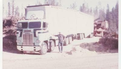1975 White-Freightliner Old Cabover Rig with Driver