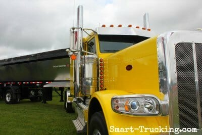 Yellow 389 Peterbilt Front Corner Grill View