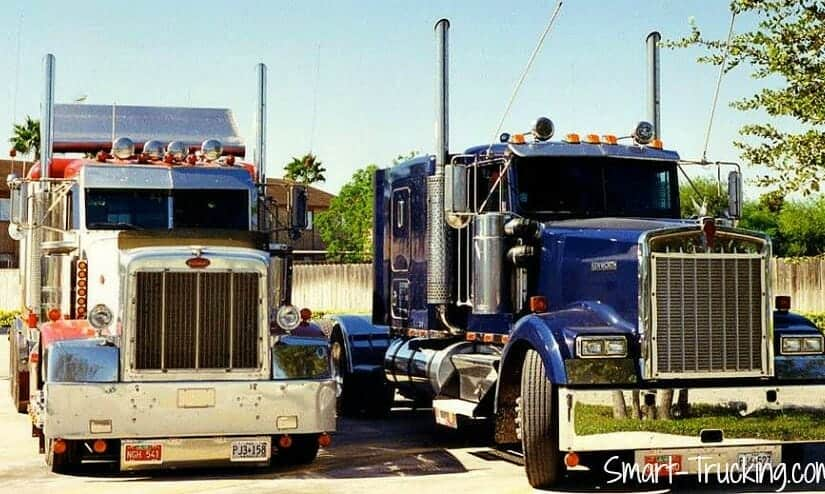 Red White 377 Peterbilt and 1993 Blue Kenworth W900B