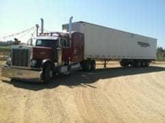 Red Older Model Peterbilt Big Rig Truck