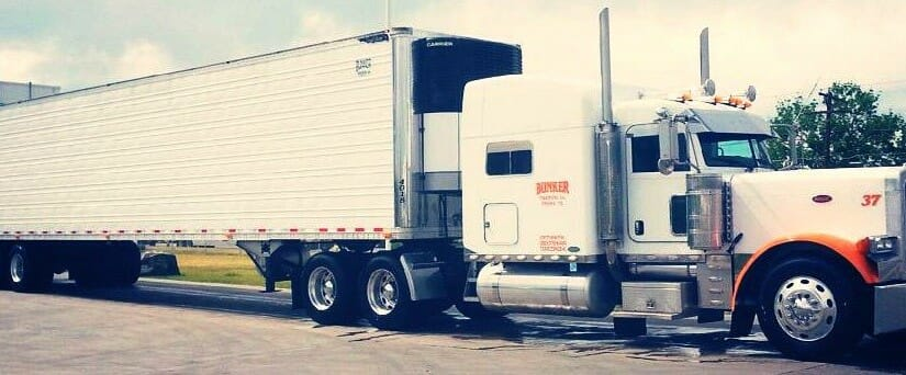 White Orange Peterbilt 379 Owner Operator Rig With Trailer