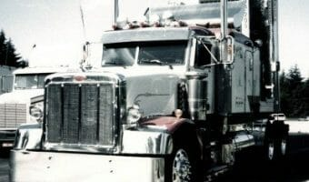 White and Red 377 Peterbilt Classic Model 377
