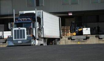 Peterbilt Truck Loading at Freight Dock
