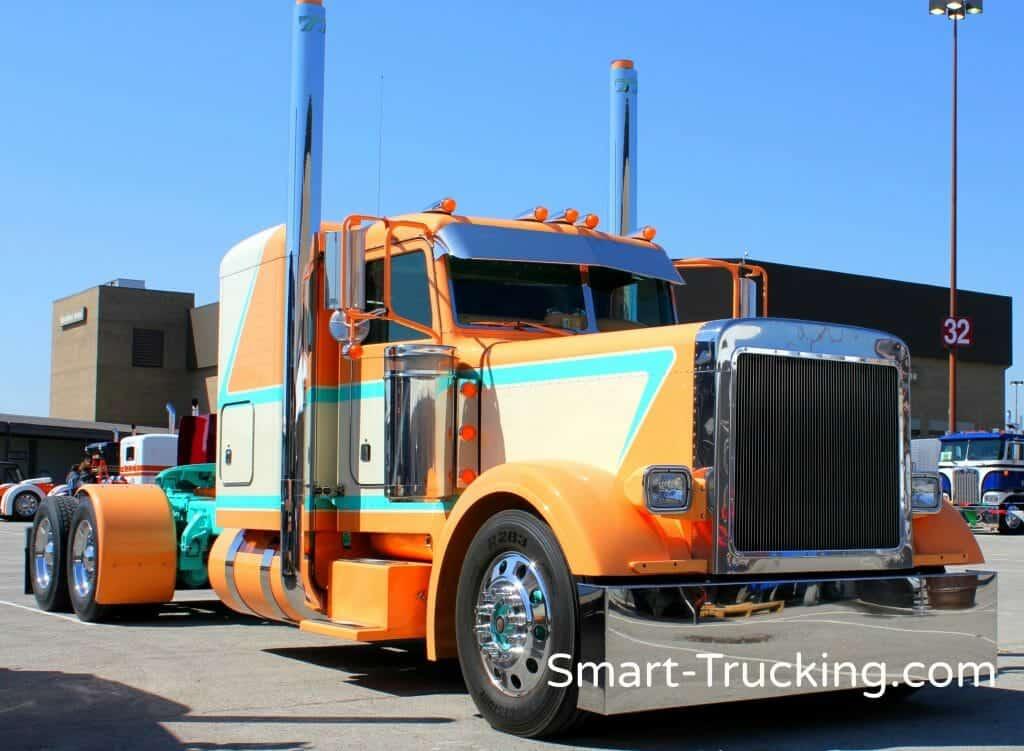 Peterbilt Show Truck Aqua Orange White
