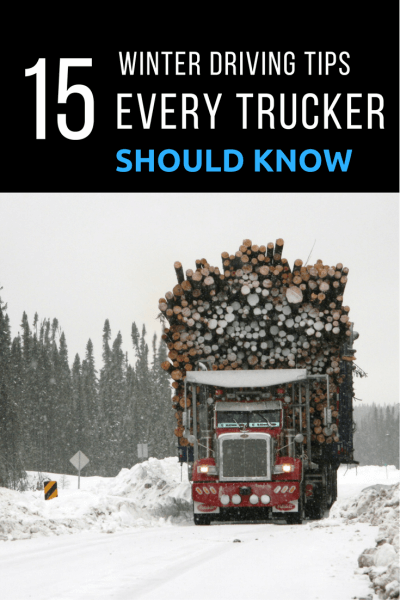 Big Red Peterbilt Truck With Massive Load of Logs in Winter Snow
