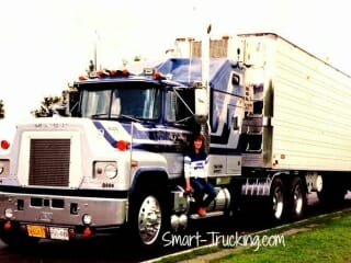 1982 R Model Blue Gray Mack Truck with Lady Trucker