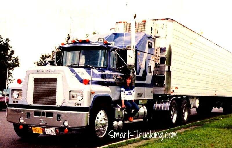 1982 R Model Blue Gray Mack Truck with Lady Trucker