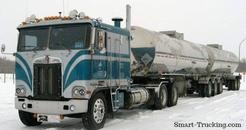 1984 Kenworth Cabover in Snow