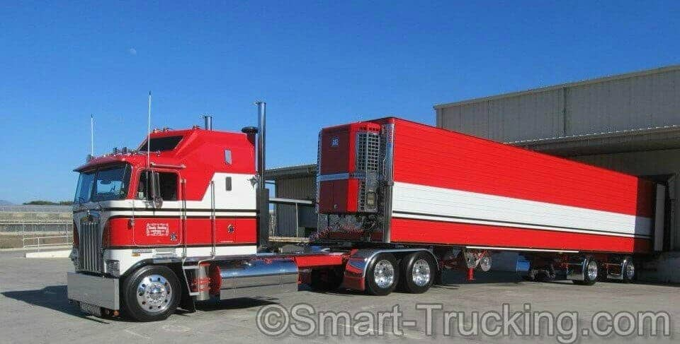 Old School Old School Kenworth K100 Cabover Red White Truck K100 Cabover Red White Truck