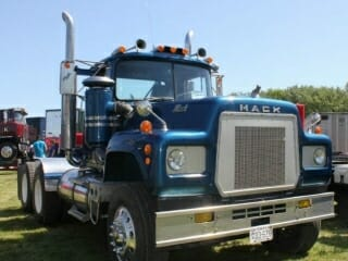 Old R Model Blue Mack Truck