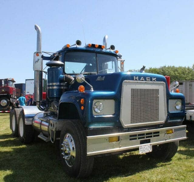 Old R Model Blue Mack Truck