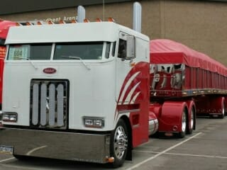 Custom Peterbilt Cabover 362 Model with Stainless Trailer