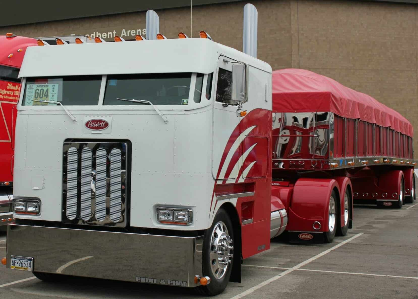 red white peterbilt cabover truck