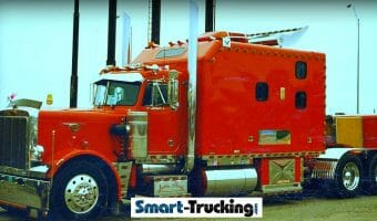 1986 Peterbilt 359 Red Big Sleeper