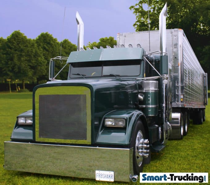 Green Conventional Style Custom Freightliner