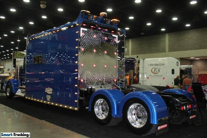Kenworth Custom Sleeper Berth Truck Royal Blue Rear View of Bunk