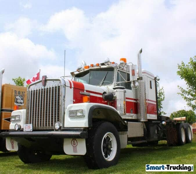 Kenworth W900A White Red Truck