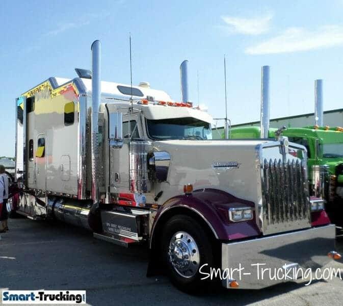 Kenworth W900 Long Hood Custom Sleeper Berth Purple White Truck