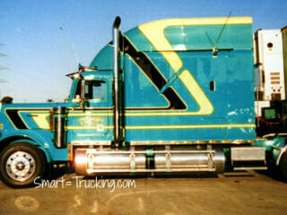 Older Freightliner Custom Sleeper Berth Truck Green Yellow Black