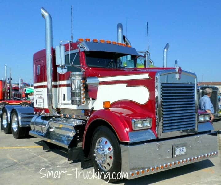 Kenworth W900 Red White Custom Show Truck