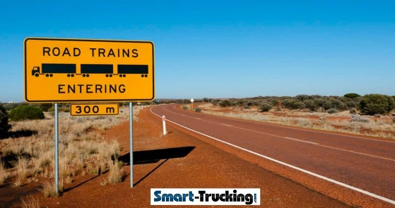 Road Trains Entering Sign in Australia Outback
