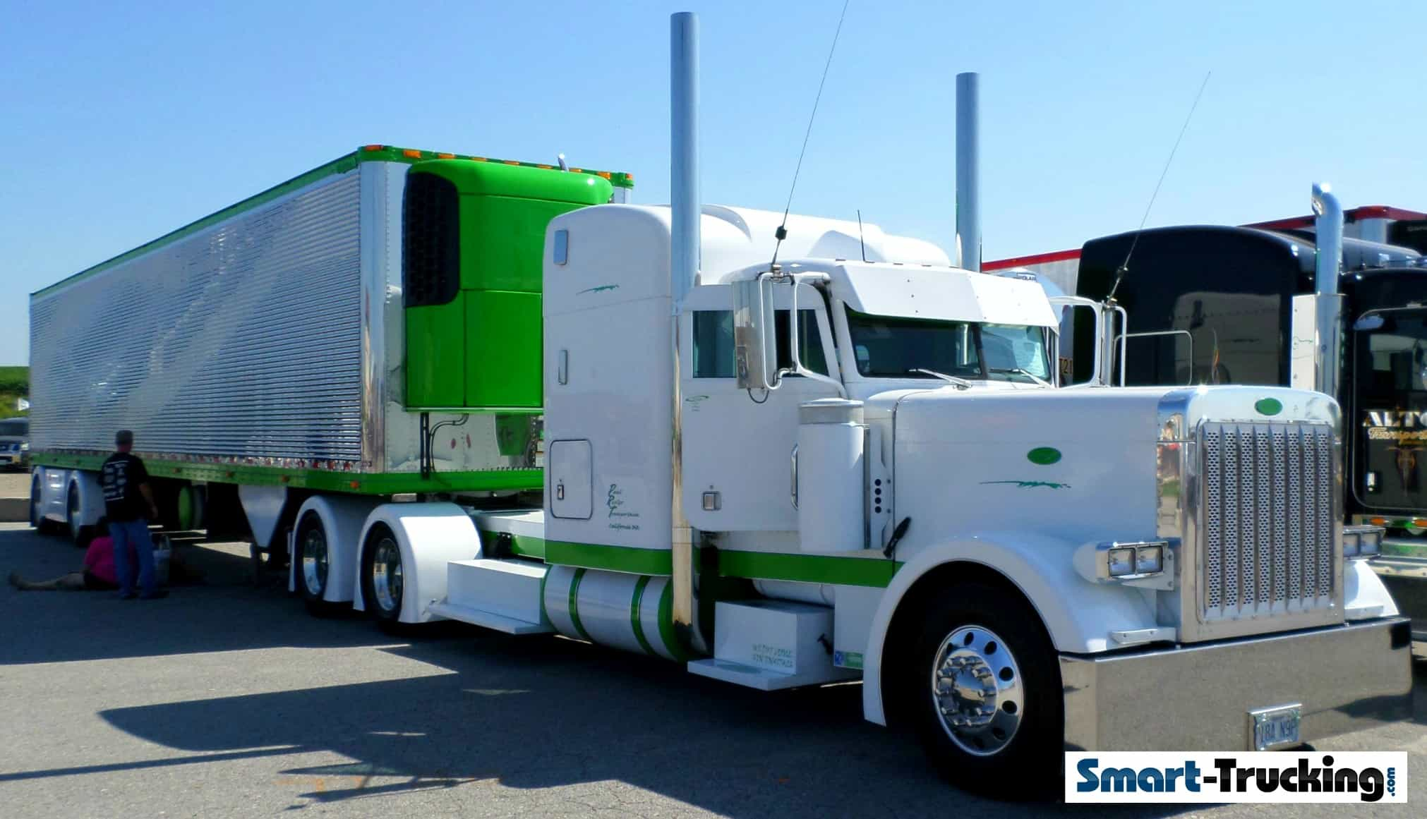White Peterbilt 379 Lime Green Accents Stainless Reefer