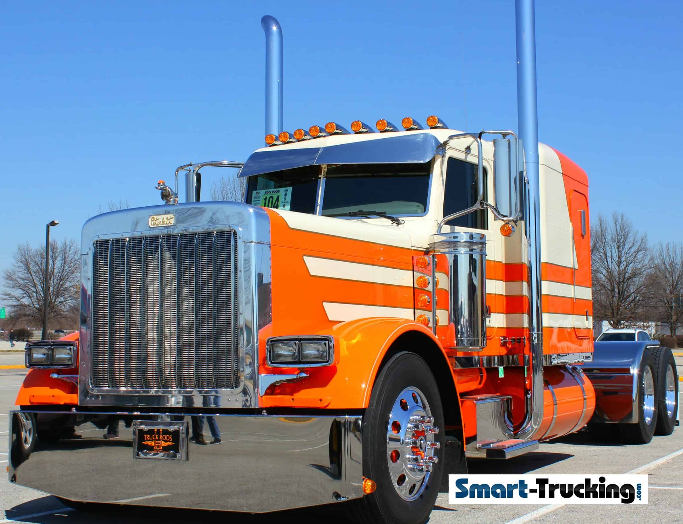 Peterbilt 379 Orange White Show Truck