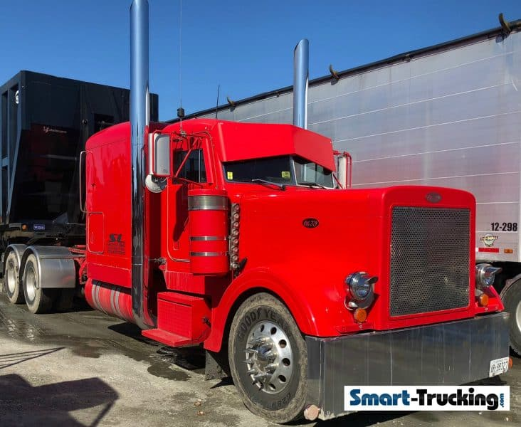 Red Peterbilt 379 Big Pipes