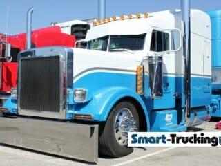 White Blue 379 Peterbilt Truck SIZED