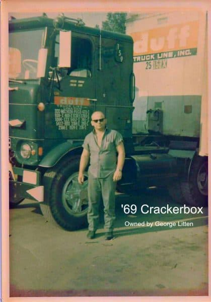 1969 Crackerbox Cabover With Trucker Beside Truck