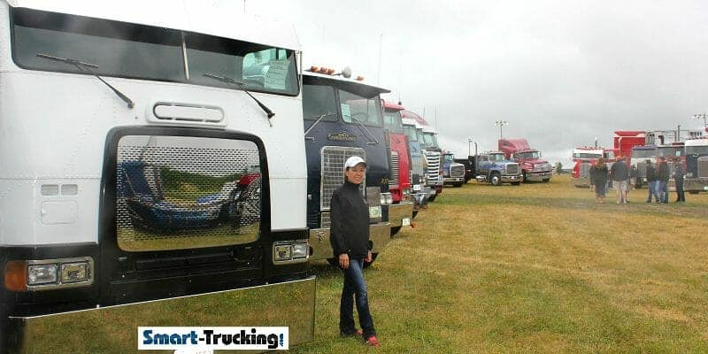 CATHERINE AT SMART TRUCKING WITH CABOVERS CLIFFORD TRUCK SHOW