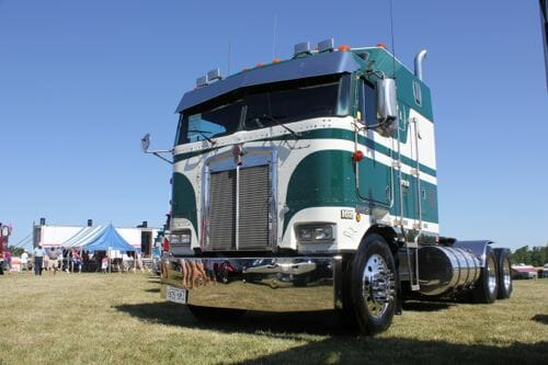 Green White K100 Kenworth Cabover