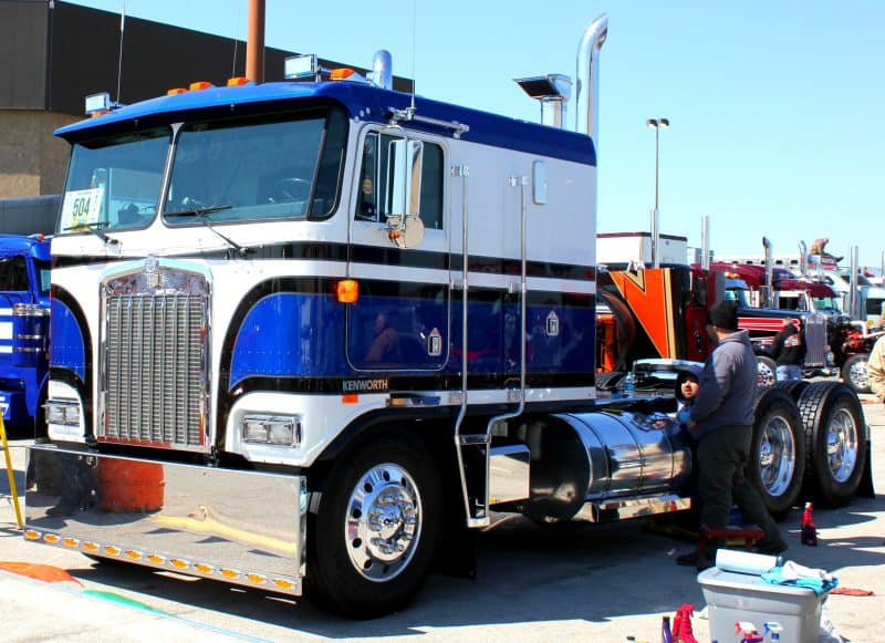 Blue White Kenworth Cabover Truck