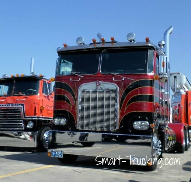 Black Red Old Kenworth Cabover Truck