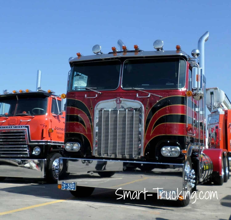 Black Red Old Kenworth Cabover Truck