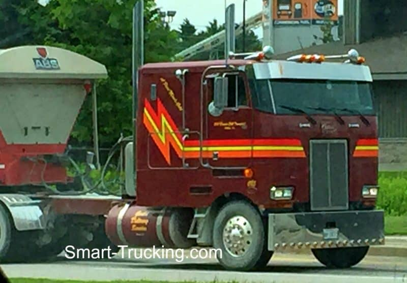 Maroon Peterbilt Cabover