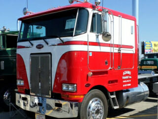 Red White Peterbilt Cabover