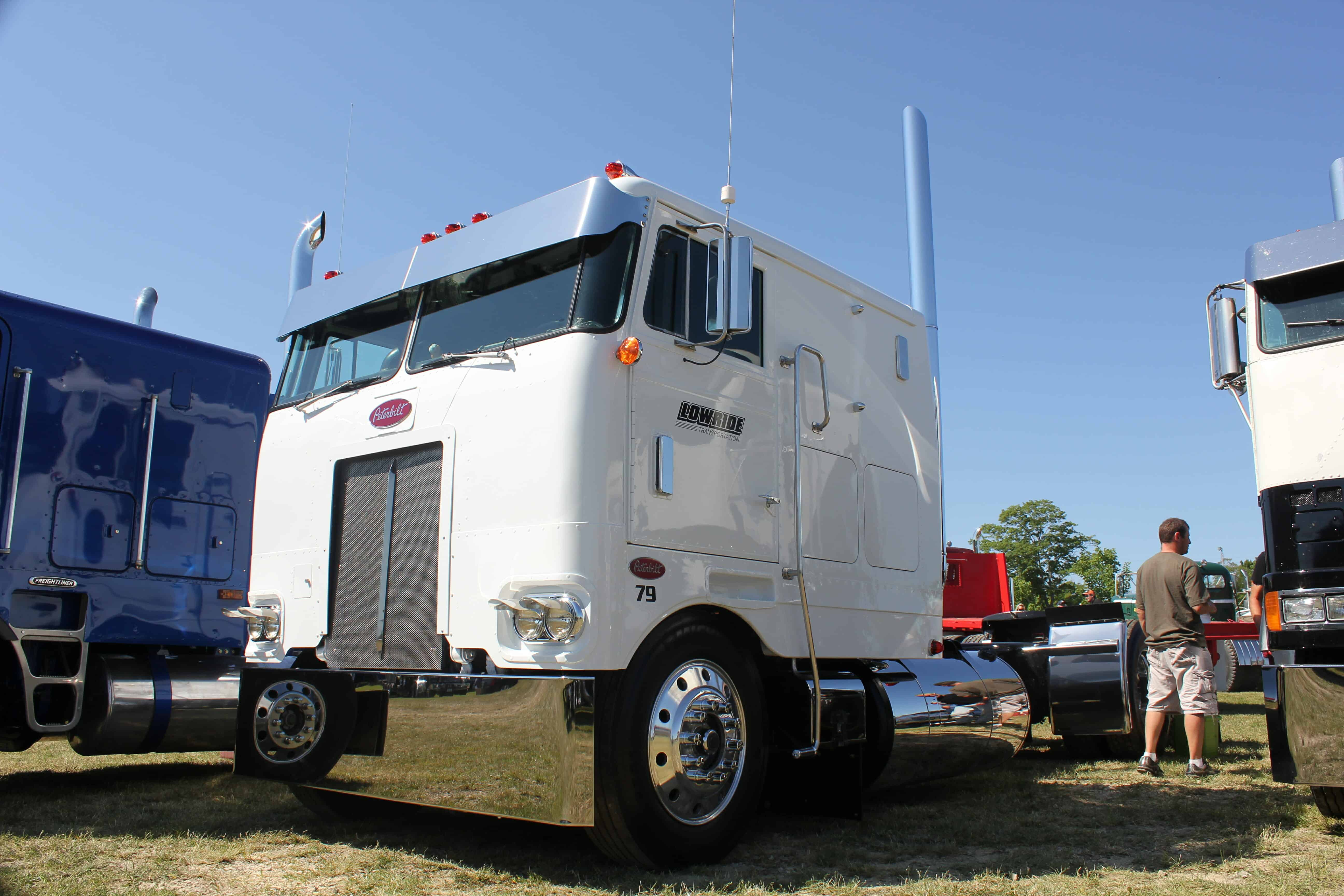 White Peterbilt Cabover Truck