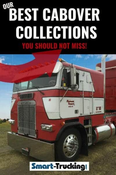 Red and White Cabover Freightliner Big Rig With Trailer