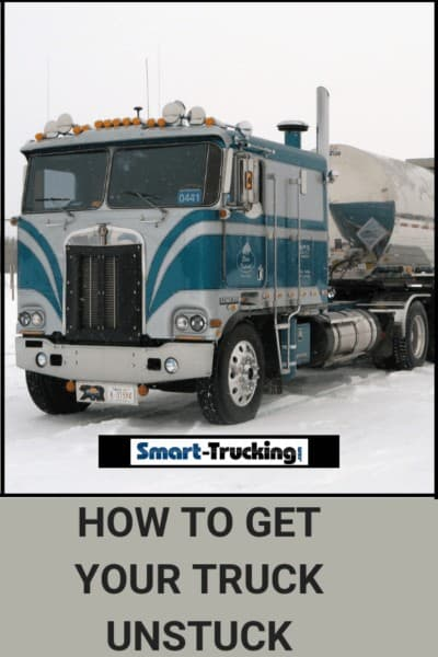 Blue and White Cabover Kenworth in Snow