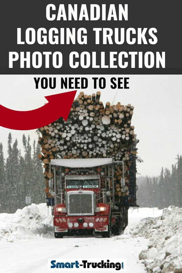 Red Peterbilt Heavy Duty Class 8 Truck with load of logs on snow covered road