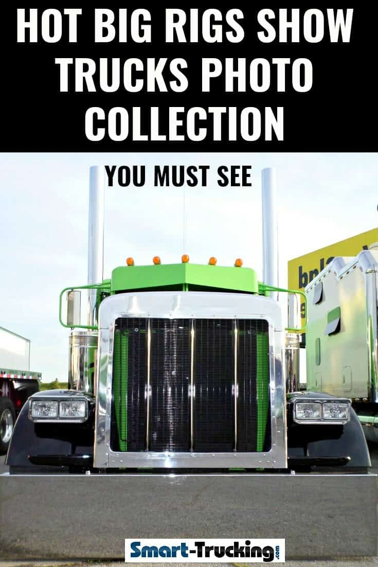 Black and Green Peterbilt 379 Big Rig Front Grill View